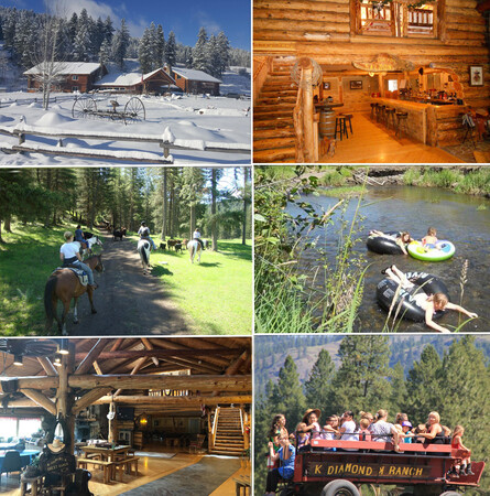 K-Diamond-K 'Dude' Ranch Package. Overnight stay in a hand-crafted log Lodge. All-Inclusive, one full day of activities for (2).